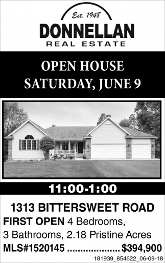 Open House Saturday, June 9