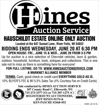 Hauschildt Estate Online Only Auction