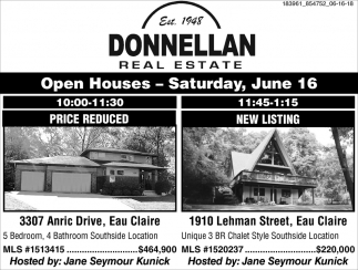 Open House Saturday, June 16