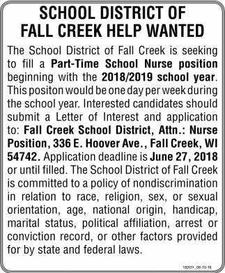 School District of Fall Creek Help Wanted