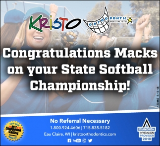 Congratulations Macks on your State Softball Championship!