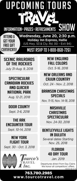 Upcoming Tours Travel