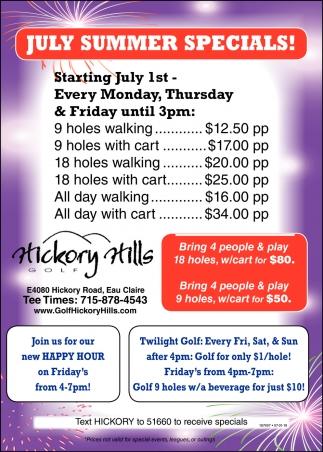 July Summer Specials!