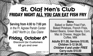 Friday night all you can eat fish fry st olaf men 39 s club for All you can eat fish fry