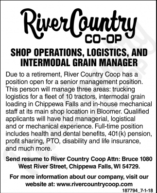 Shop Operations, Logistics and Intermodal Grain Manager