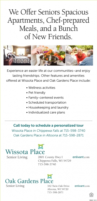 We Offer Senior Spacious Apartments, Chef-Prepared Meals, and a Bunch of New Friends