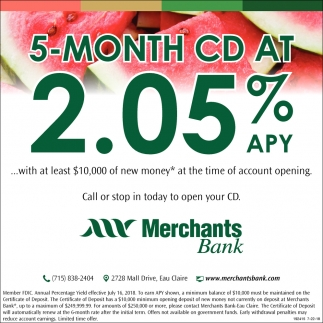 5-Month CD at 2.05% APY