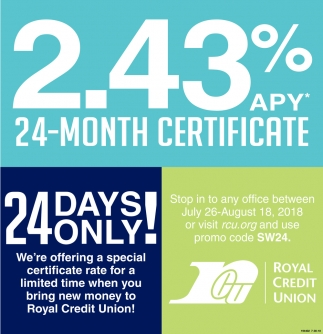 2.43% APY 24-Month Certificate