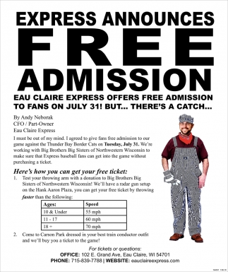 Express Announces FREE Admission