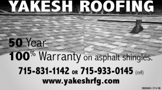 50 Year 100% Warranty on Asphalt Shingles