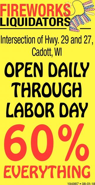 Open Daily Through