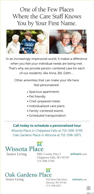 Call Today to Schedule a Personalized Tour