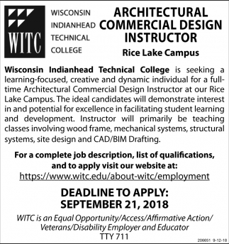 Architectural Commercial Design Instructor