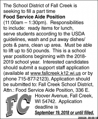 Food Service Aide Position