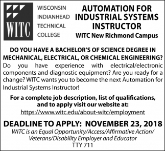 Automation for Industrial Systems Instructor