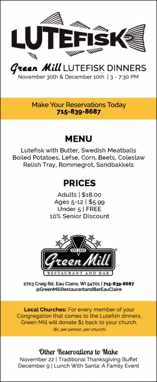 Green Mill Lutefisk Dinners