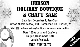 Hudson Holiday Boutique & Craft Sale