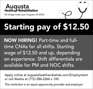 Starting Pay of $12.50