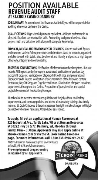 Position Available Revenue Audit Staff
