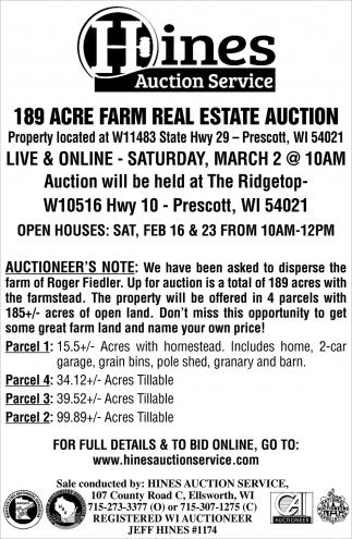 189 Acre Farm Real Estate Auction