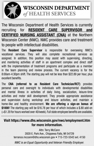Resident Care Supervisor and Certified Nursing Assistant