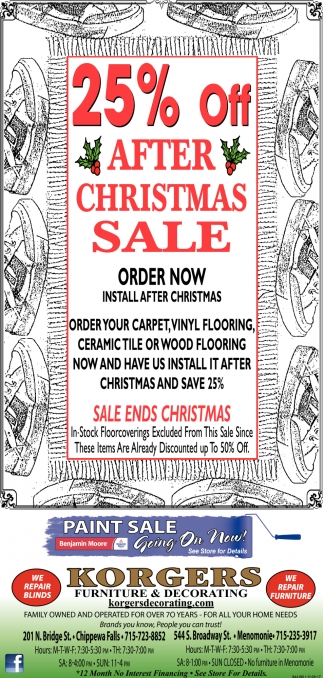 25% OFF After Christmas Sale