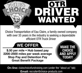 OTR Driver Wabted