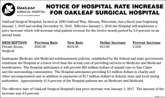 Notice Of Hospital Rate Increase For OakLeaf Surgical Hospital