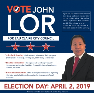 Vote John Lor for Eau Claire City Council