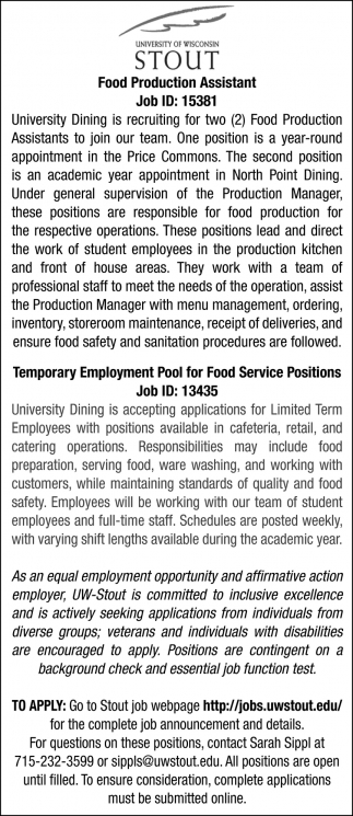 Food Production Assistant