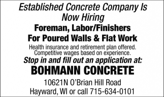 Established Concrete Company is Now Hiring