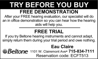 Try Before You Buy, Larson Beltone Hearing Aids Center