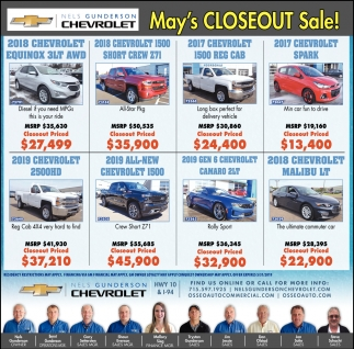 May's Closeout Sale