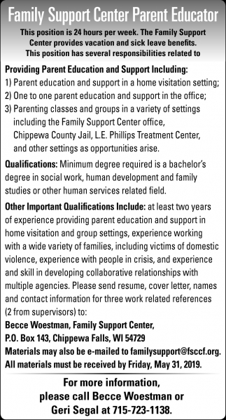 Family Support Center Parent Educator