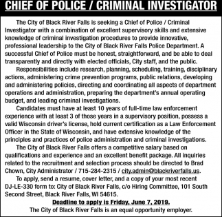 Chief Police/Criminal Investigator