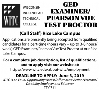 GED Examiner/ Pearson Vue Test Proctor