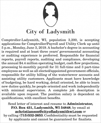 Comptroller/Payroll and Utility Clerk