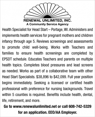 Health Specialist for Head Start