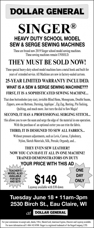 Heavy duty School Model Sew & Serge Sewing Machines
