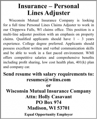 Insurance - Personal Lines Adjuster
