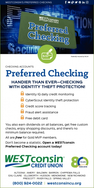 Preferred Checking Westconsin Credit Union River Falls Wi