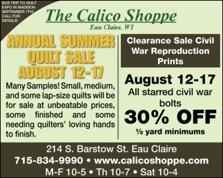 Annual Summer Quilt Sale