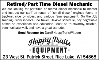 Retired/Part Time Diesel Mechanic