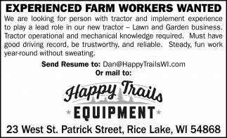 Experienced Farm Workers Wanted