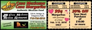 Coupon Casa Margarita Mexican Restaurant Eau Claire Wi