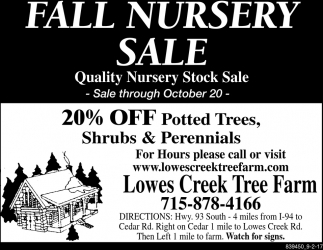 Fall Nursery Sale