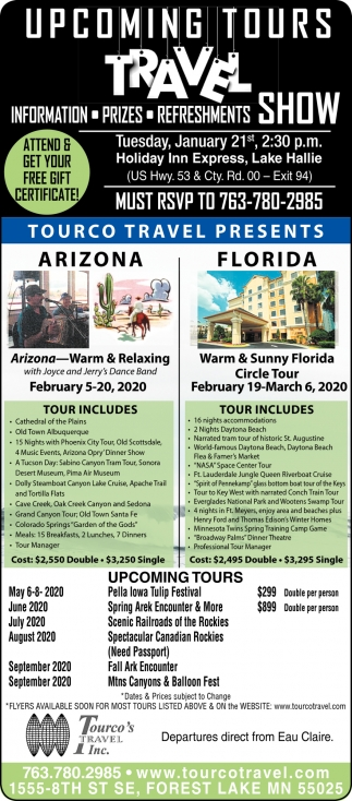 Upcoming Tours Travel