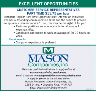 Excellent Seasonal Opportunities