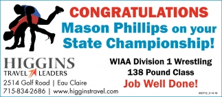 Congratulations Mason Phillips on your State Championship