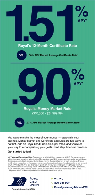 1.51% APY Royal's 12 Month Certificate Rate